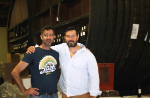 Matt Saunders with Minervois winery operator.