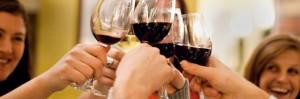 Friends drinking wine, cheers!