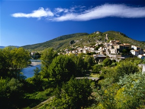 Wine village of Roquebrun sur Orb Herault France St Chinian
