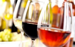 Wine in glasses.