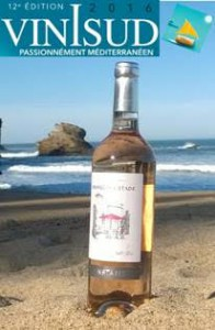 Wine bottle on beach