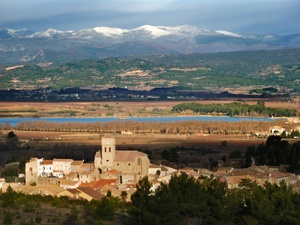 Looking across the valley of the Aude towards Tourouzelle, the Lac de Jouarres and the Montagne Noire in southern France.